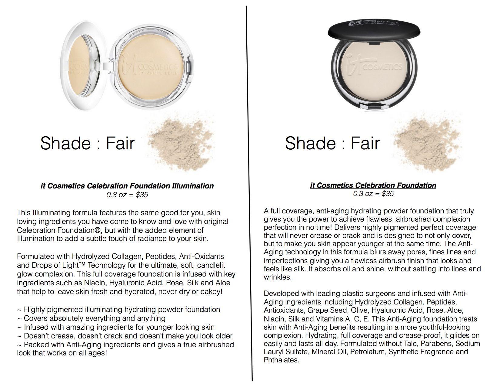it Cosmetics Celebration Foundation vs Celebration