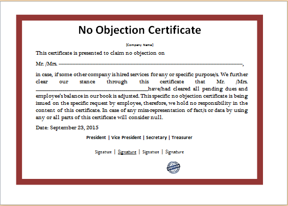 Ms Word No Objection Certificate Template Word Excel Templates