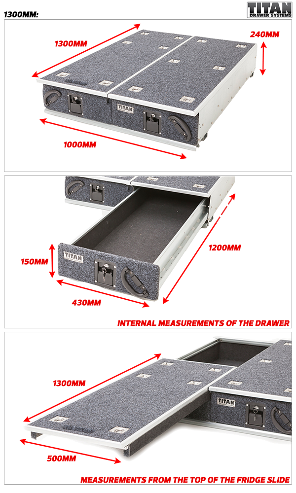 Titan Drawer System 1300mm Ute Drawer , 4WD & Outdoor