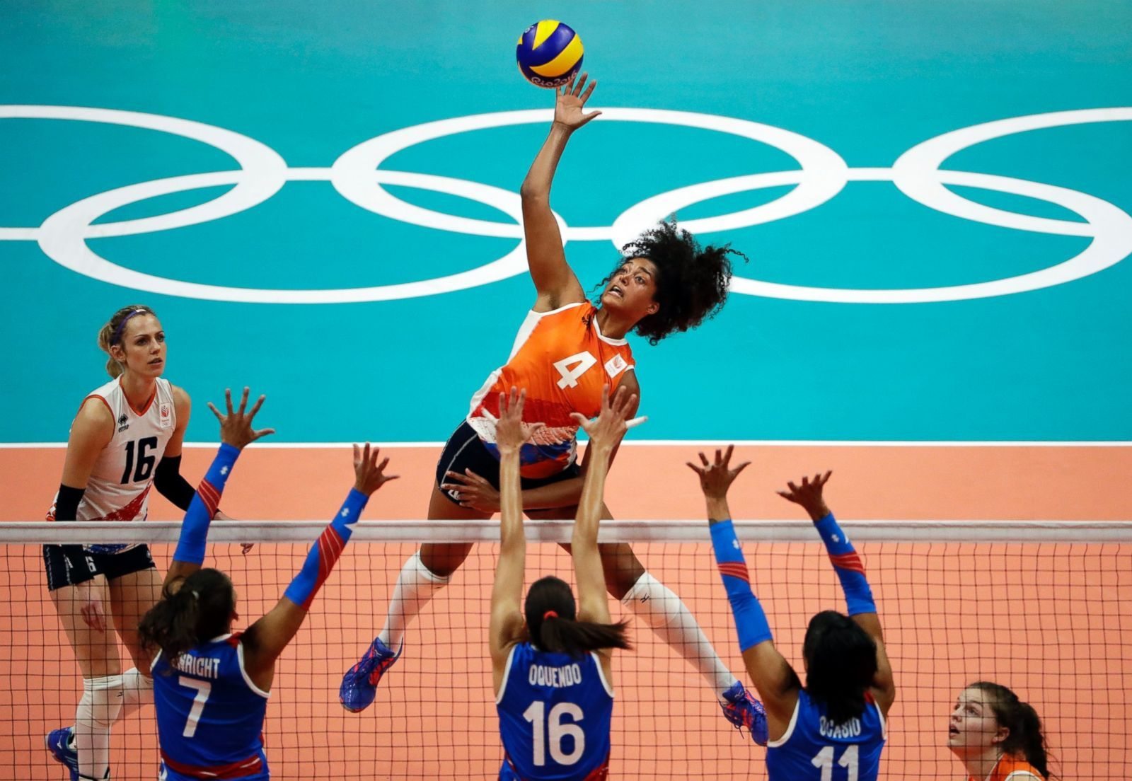 Netherlands Celeste Plak Spikes The Ball Against Puerto Rico During A Women S Volleybal Nederland