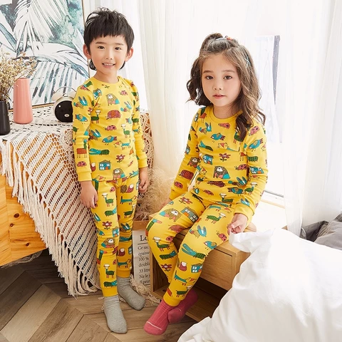 Kids Winter Cartoon Pajamas Sleepwear Long Sleeves Clothes Nightwear Suits Sets