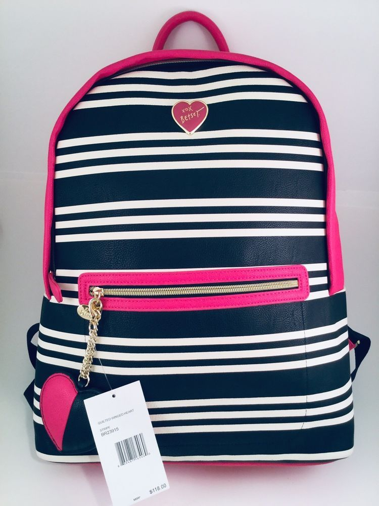 d815762e394 NEW Betsey Johnson Quilted Winged Heart Stripes Backpack, Bag, Pink Black  White  BetseyJohnson