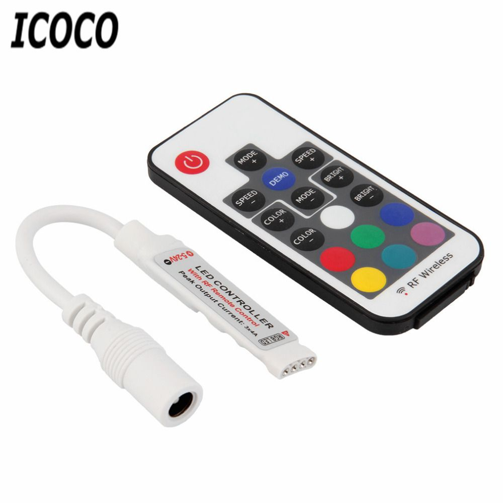 1pc Mini Rf Wireless Led Remote Controller Led Dimmer Controller For Single Color Light Strip Smd5050 3528 57 Led Dimmer Light Accessories Rgb Led Strip Lights