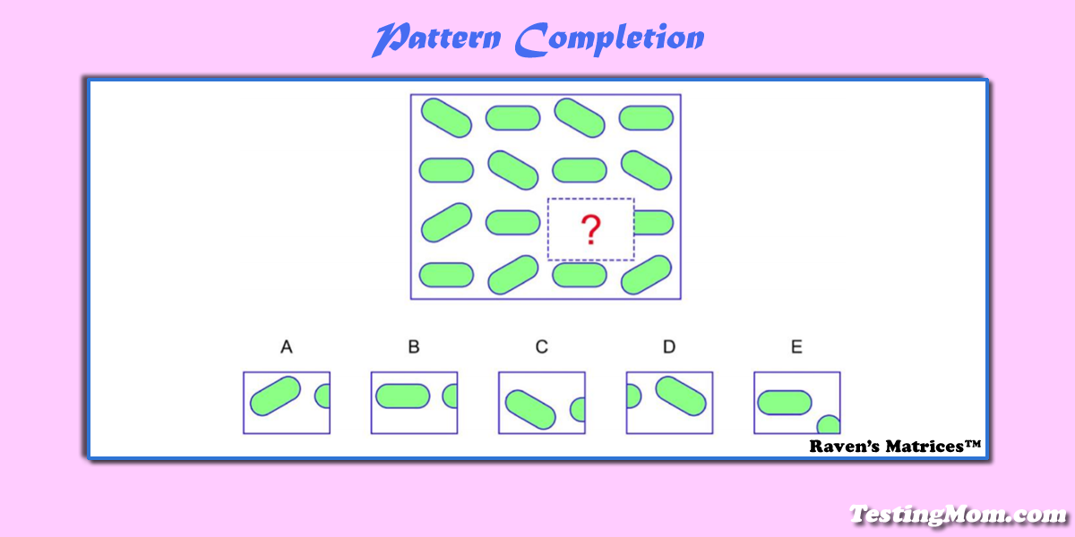 Can your child solve this pattern completion question?