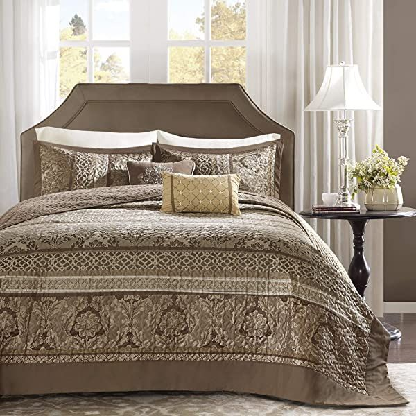 Photo of Bedspread | Madison Park Striped Bedspread Set, Oversize Queen, Brown/Gold