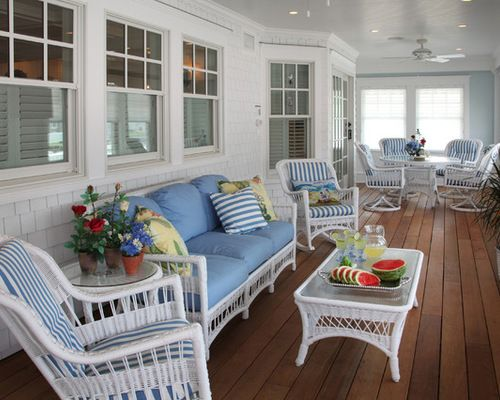 Beach Style Porch White Paint Wicker Furniture Home Design Ideas