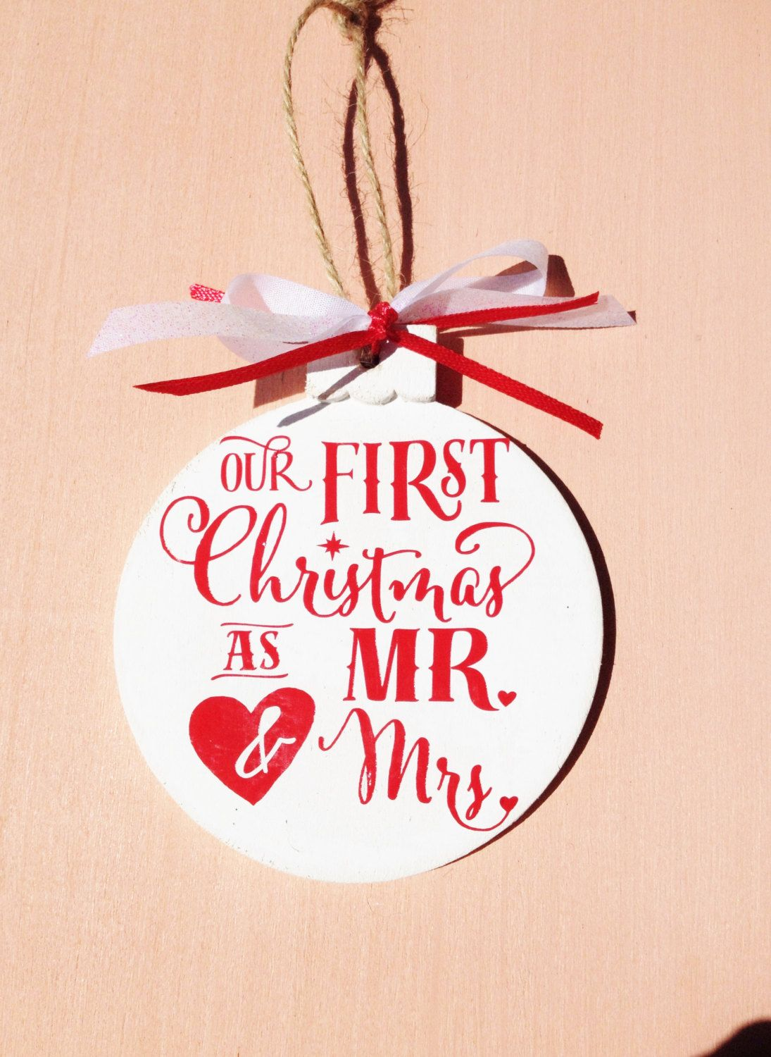 our first christmas as mr and mrs wood ornament wood christmas ornament - Our First Married Christmas Ornament