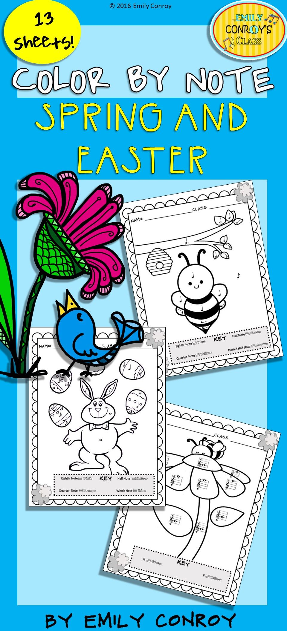 Music Coloring Sheets (Spring & Easter Color By Note) | Elementary ...