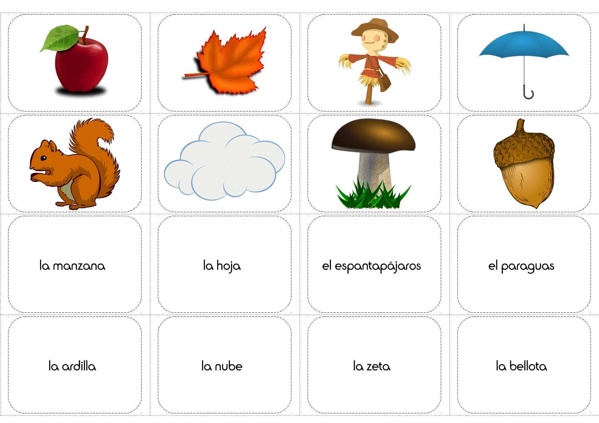 Fall Autumn Vocabulary In Spanish