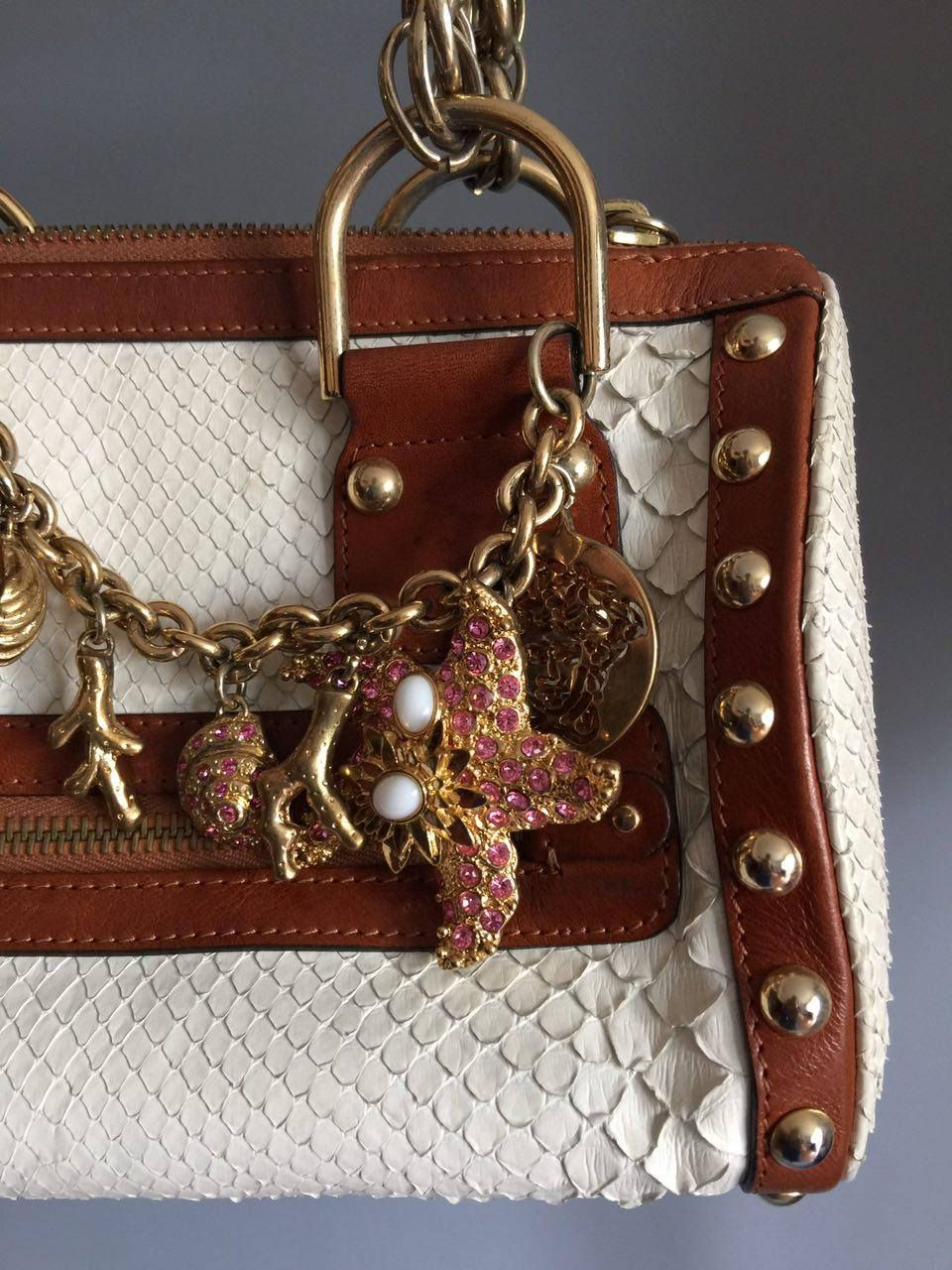 fd5510bbfd Vintage Gianni Versace Gold Medusa Python leather Bag White bag Extremely  rare Handbag Vintage versace Designer