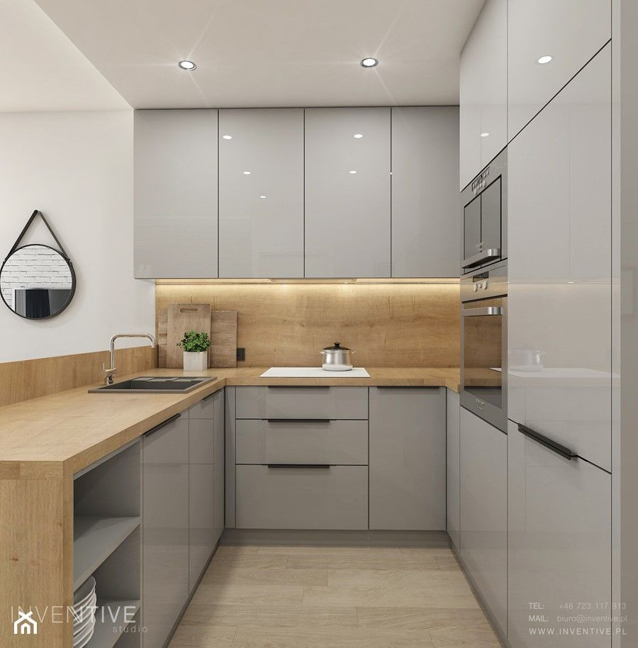 Warszawa Zoliborz Mala Biala Bezowa Kuchnia W Ksztalcie Litery U W Aneksie Z Wyspa Styl Nowoc Kitchen Design Kitchen Design Decor Kitchen Inspiration Design