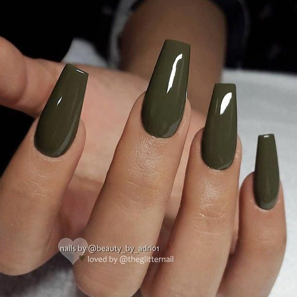 green khaki nails acrylicnails glossy in 2019