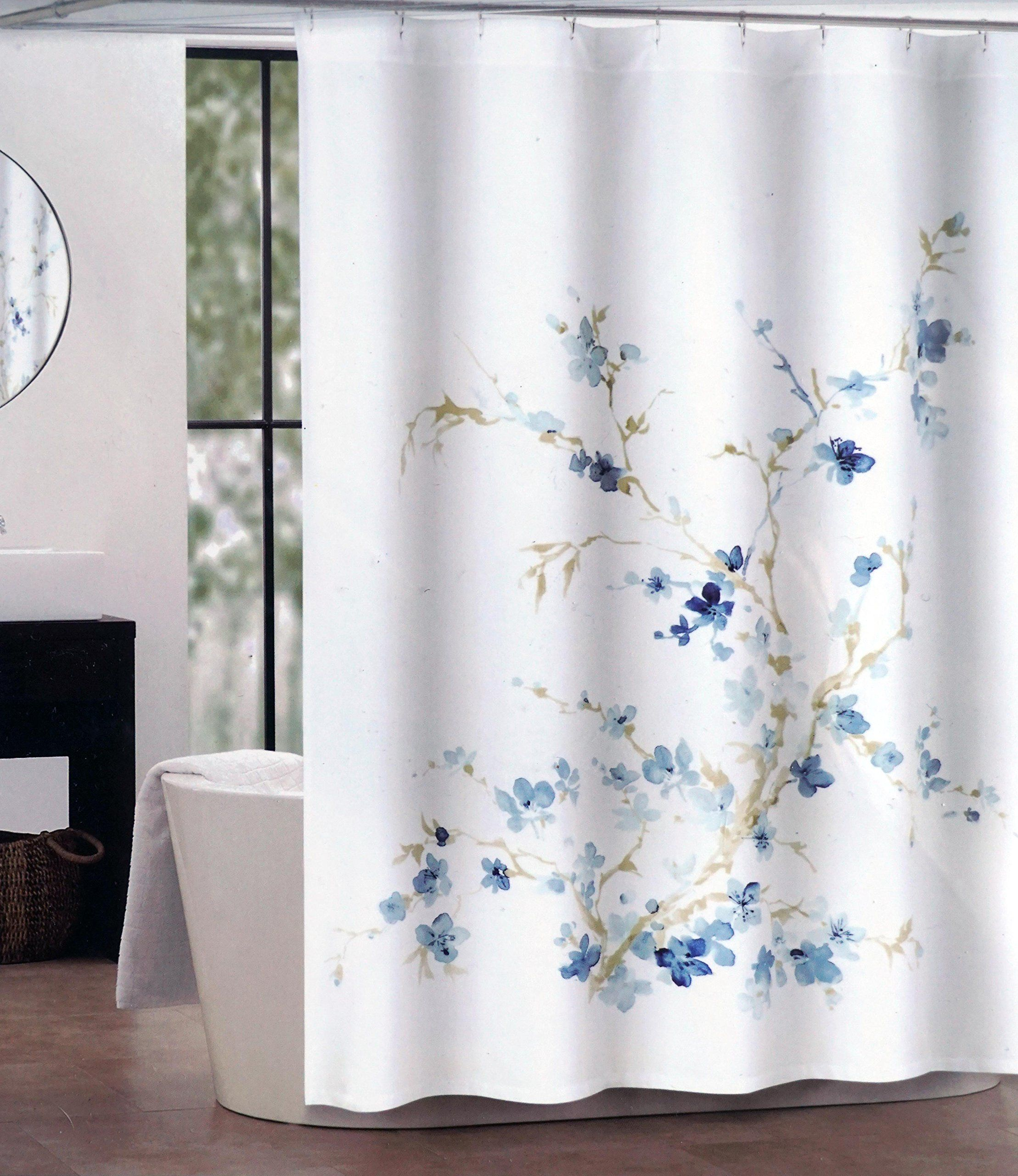 Tahari Fabric Shower Curtain Dark And Light Blue Floral Pattern - Beige and gray shower curtain