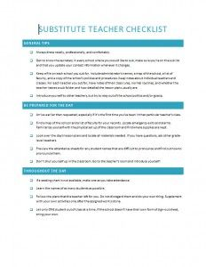 Substitute Teacher Checklist Template  School And Education