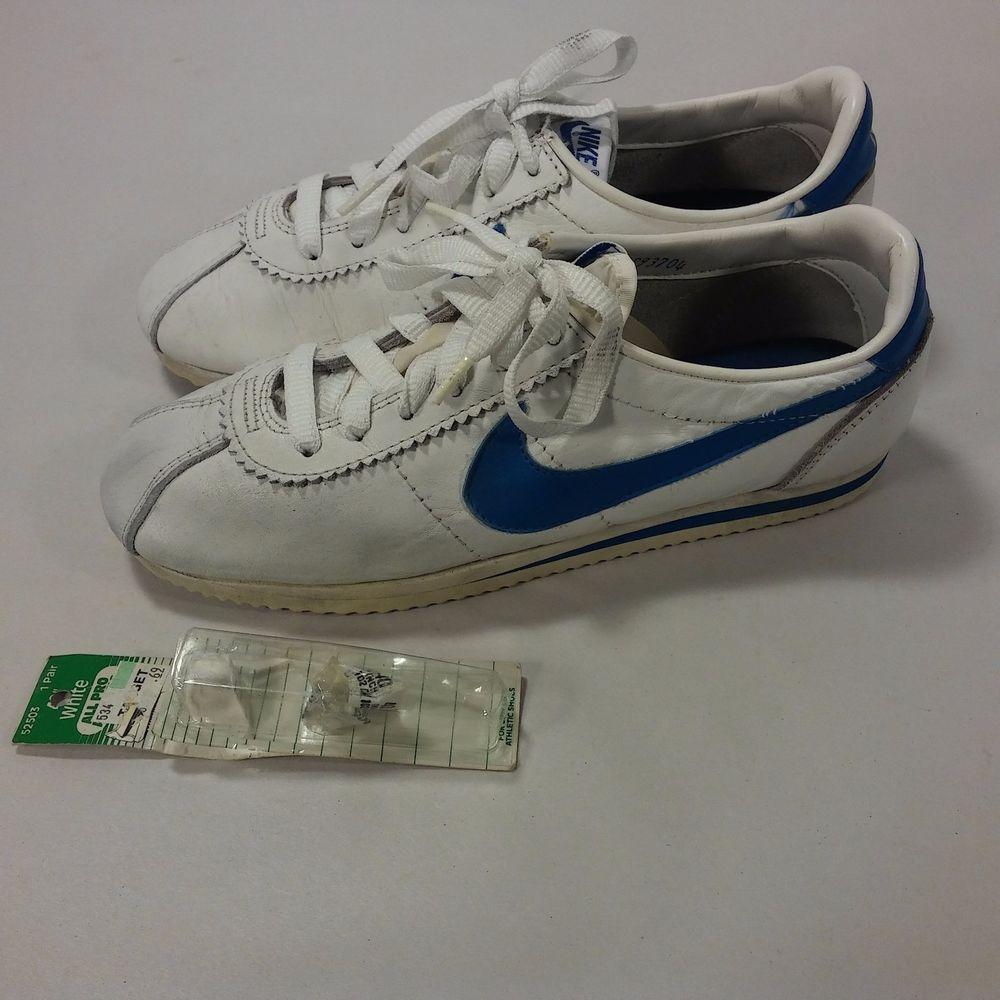 7350959b2 VINTAGE Women s 80 s Nike Swoosh Running Shoes Cortez RARE USA MADE  Wht Blue-8.5  Nike  RunningCrossTraining
