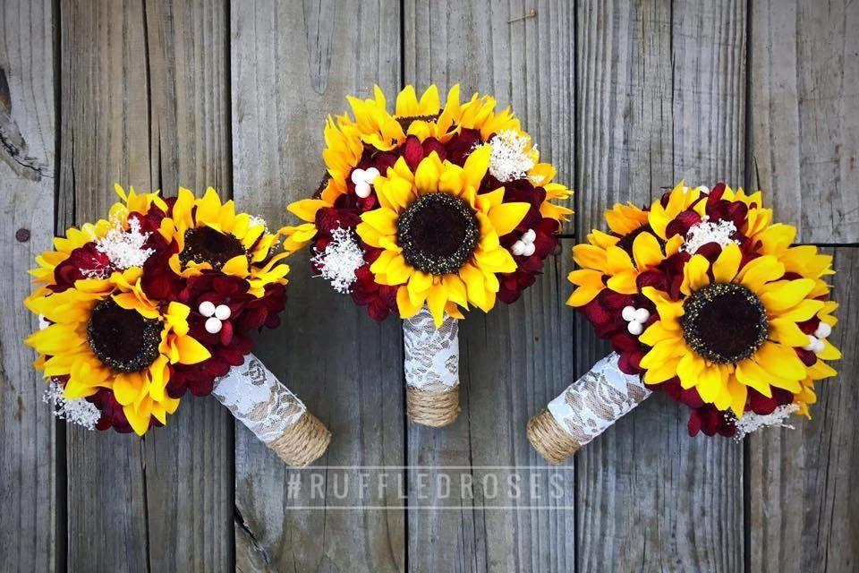 Burgundy Sunflower Bouquet Bridesmaid Bouquet Sunflower | Etsy