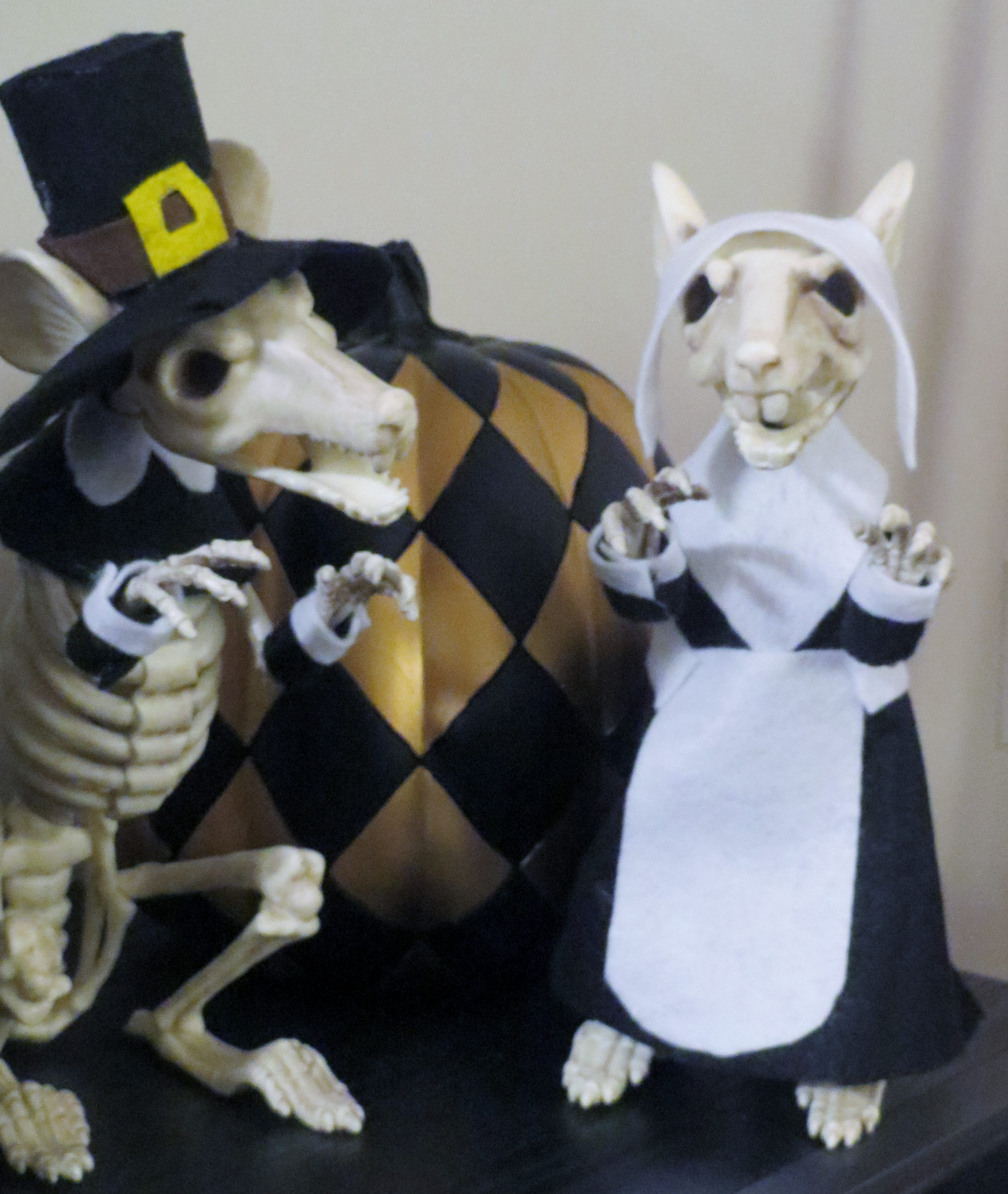 i bought the rat skeletons from grandin road on sale after halloween i love them so much i dont want to just pack them away so i made them outfits for