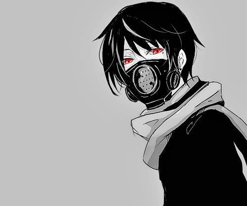 Black And White Anime Boy With Black Gas Mask And Red Eyes