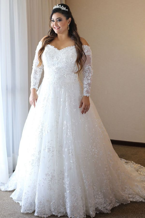 Women's Plus Size Bridal Ball Gown Vintage Lace Wedding Dresses for Bride with 34 Sleeves