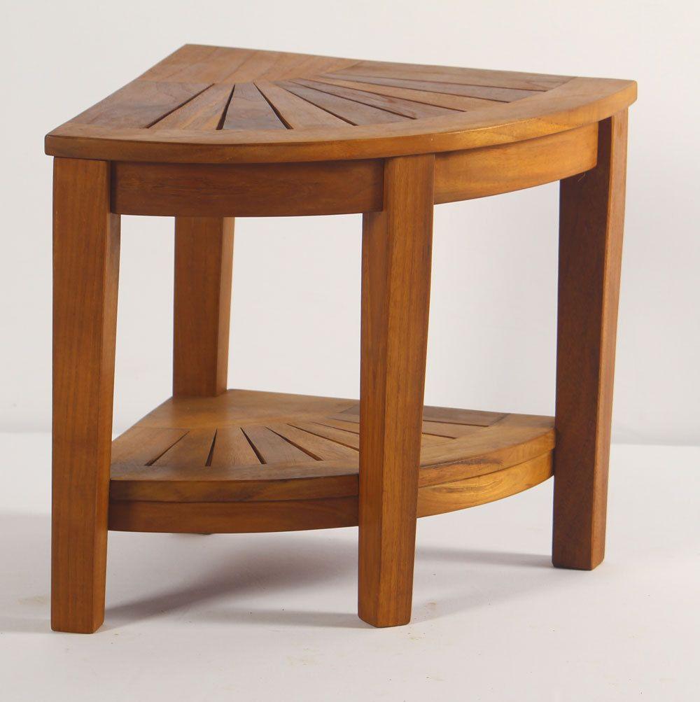 Aqua teak spa teak corner shower stool with shelf teak