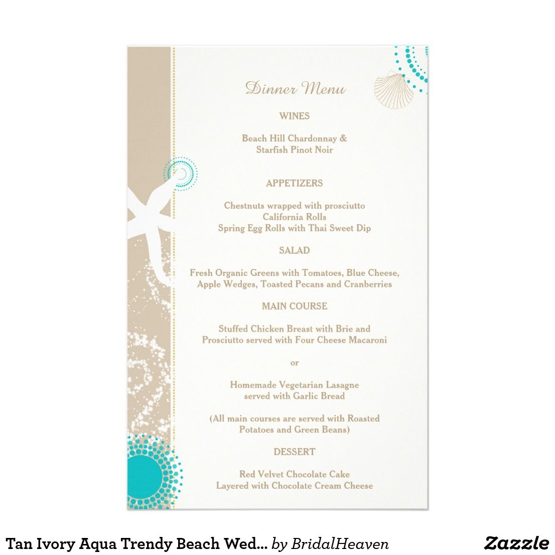 Tan Ivory Aqua Trendy Beach Wedding Menu Wedding Dinner Menu