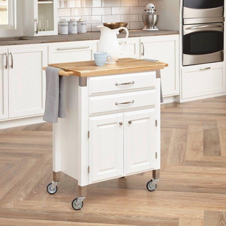 Kitchen Serving Cart Solid Wood Top White Island Storage Cabinet