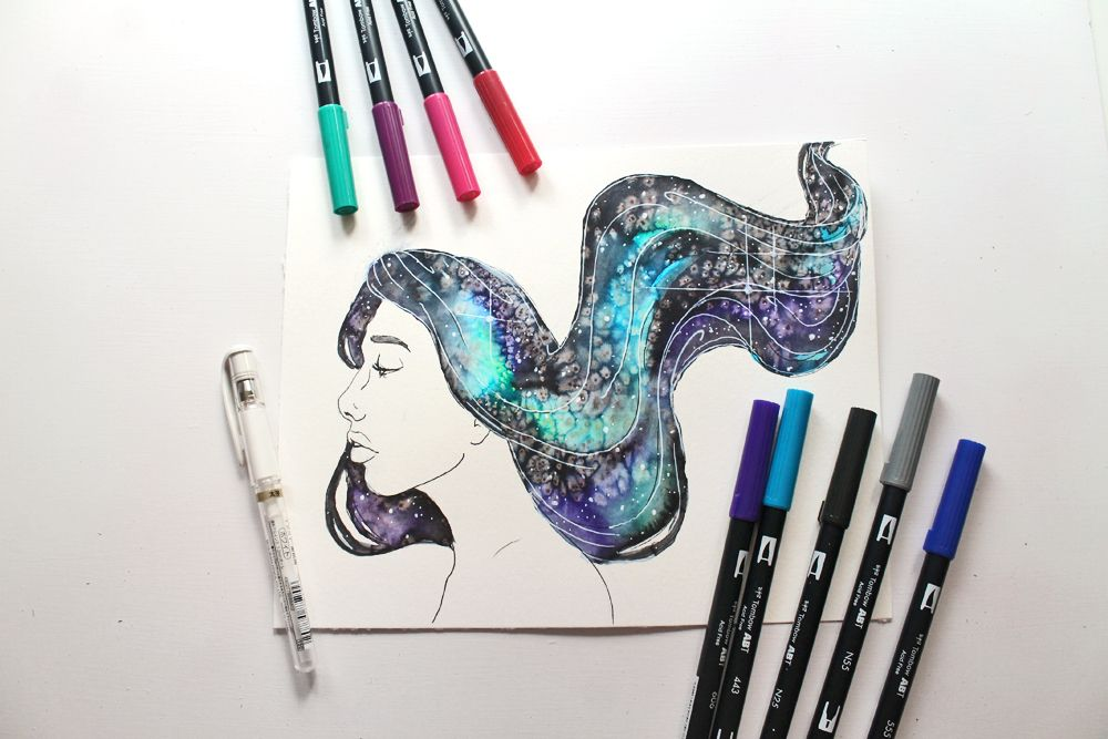 How To Paint Galaxy Hair Using Tombow Dual Brush Pens Bujo