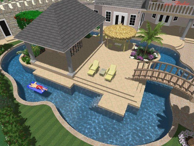 Lazy River Swimming Pool Designs the client also wanted a curvy structure to give the vessel a meandering river look so those contours also afforded us a bit more room here and there for Middle Deck Swimming Pool Great Idea Bridge Over From House And Have All Patio Lazy River
