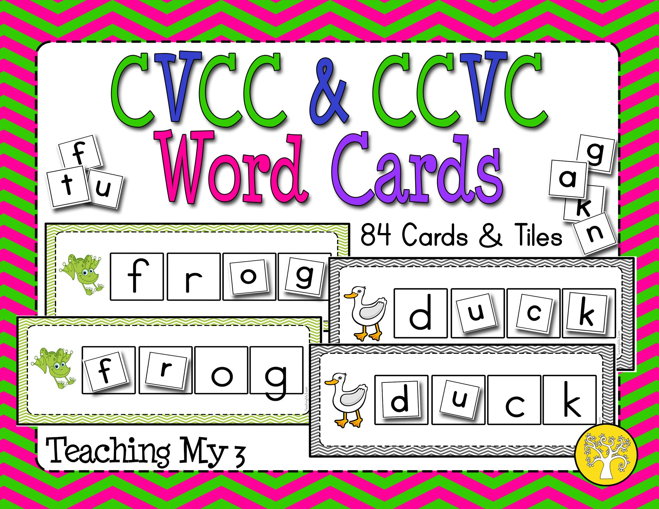 Cvcc And Ccvc Word Cards With Pictures And Letter Tiles