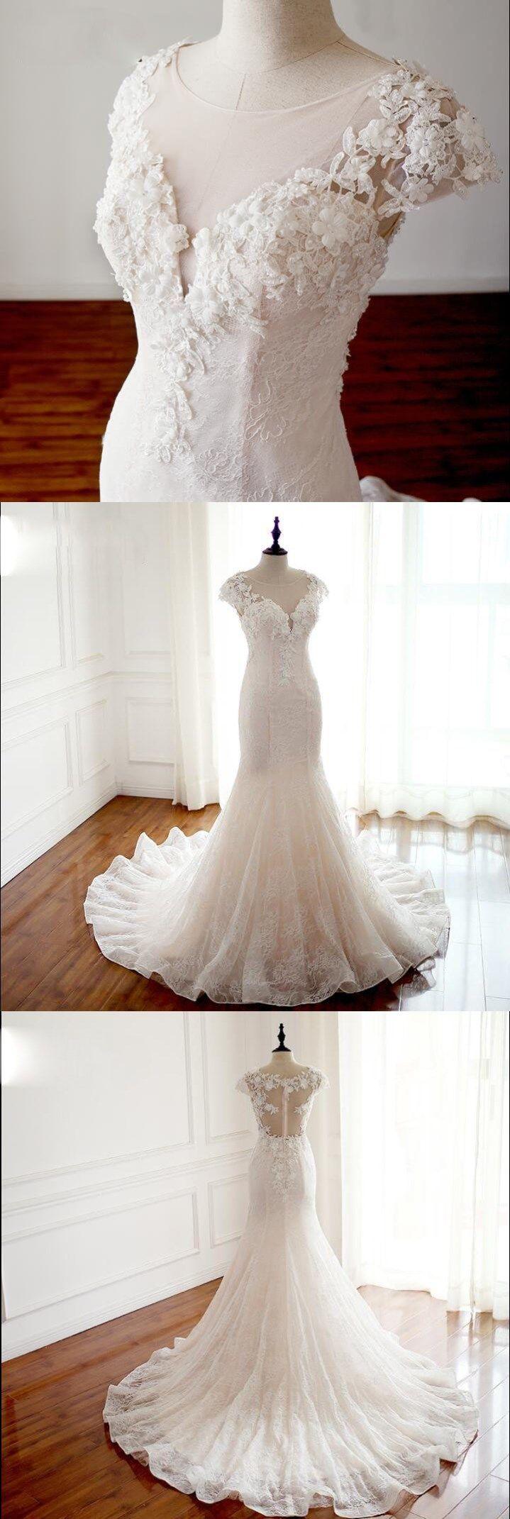 Handmade wedding dress  Cap Sleeves Trumpet Sexy Wedding Dresses High Quality Handmade