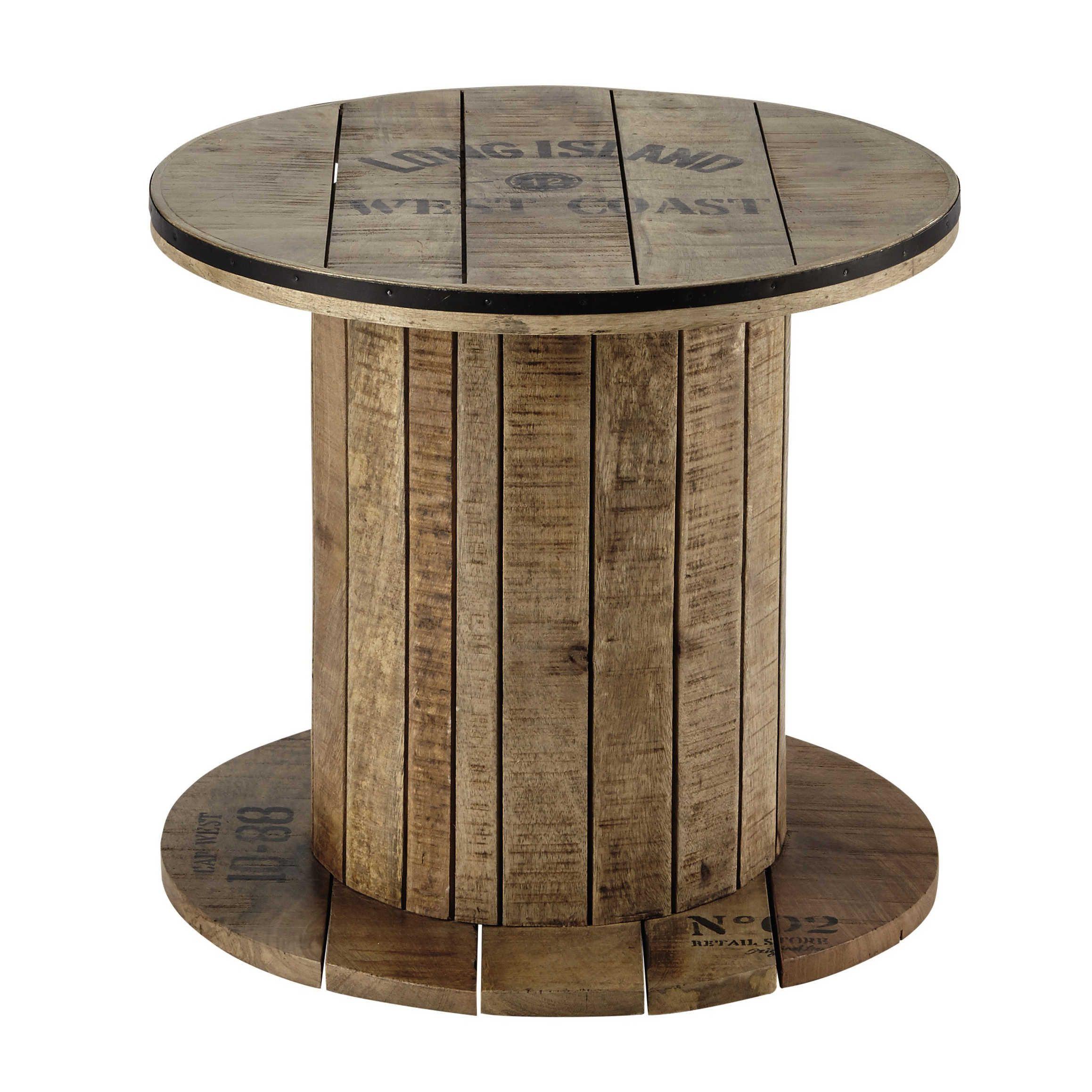 Mango Wood Cable Reel Side Table D 50cm Maisons Du Monde Kabeltrommel Tisch Kabeltrommel Holz Kabeltrommel