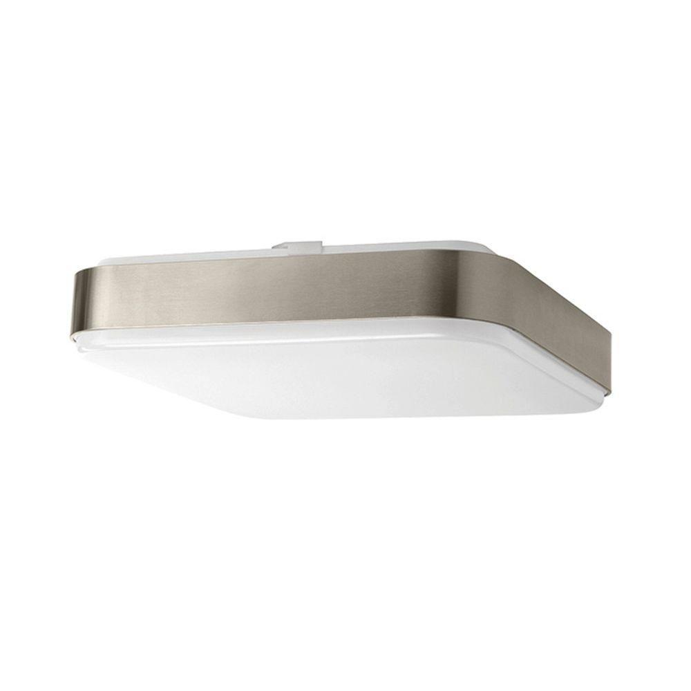 Bathroom Light Fixtures Brushed Nickel Ceiling Mount hampton bay 14 in. 1-light brushed nickel led square ceiling flush