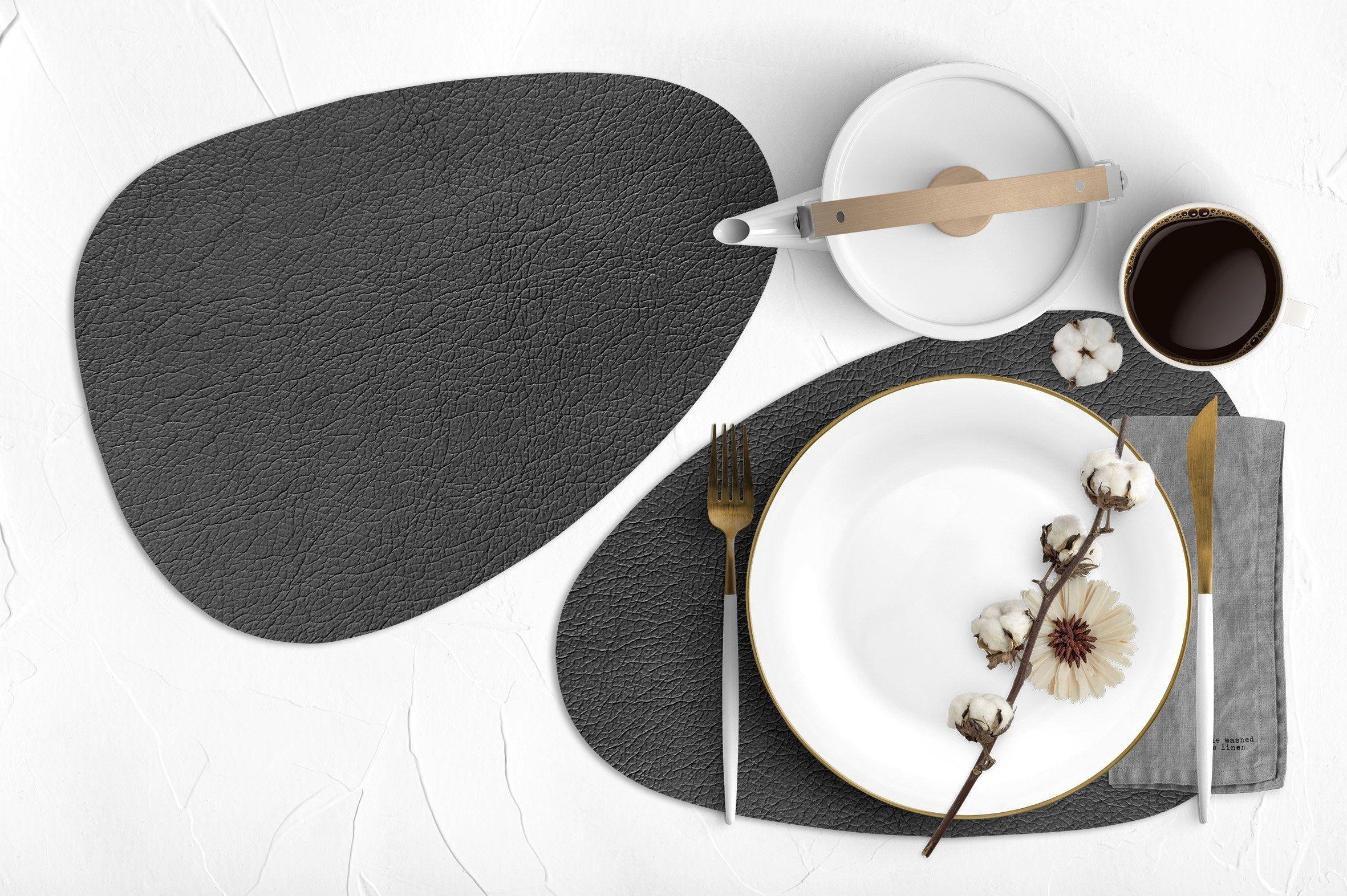 Grey Vinyl Curve Oval Heat Resistant Placemats Faux Leather Leather Like Prestigious Tableware Dinnerware Dining Setting Decor Tableware Design Handmade Tableware Tableware