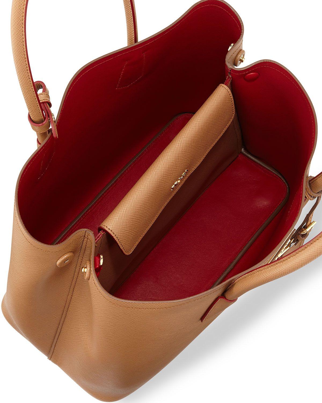 eb9dd9436395 Saffiano Cuir Medium Double Bag Camel (Carmello) | Bags | Bags ...