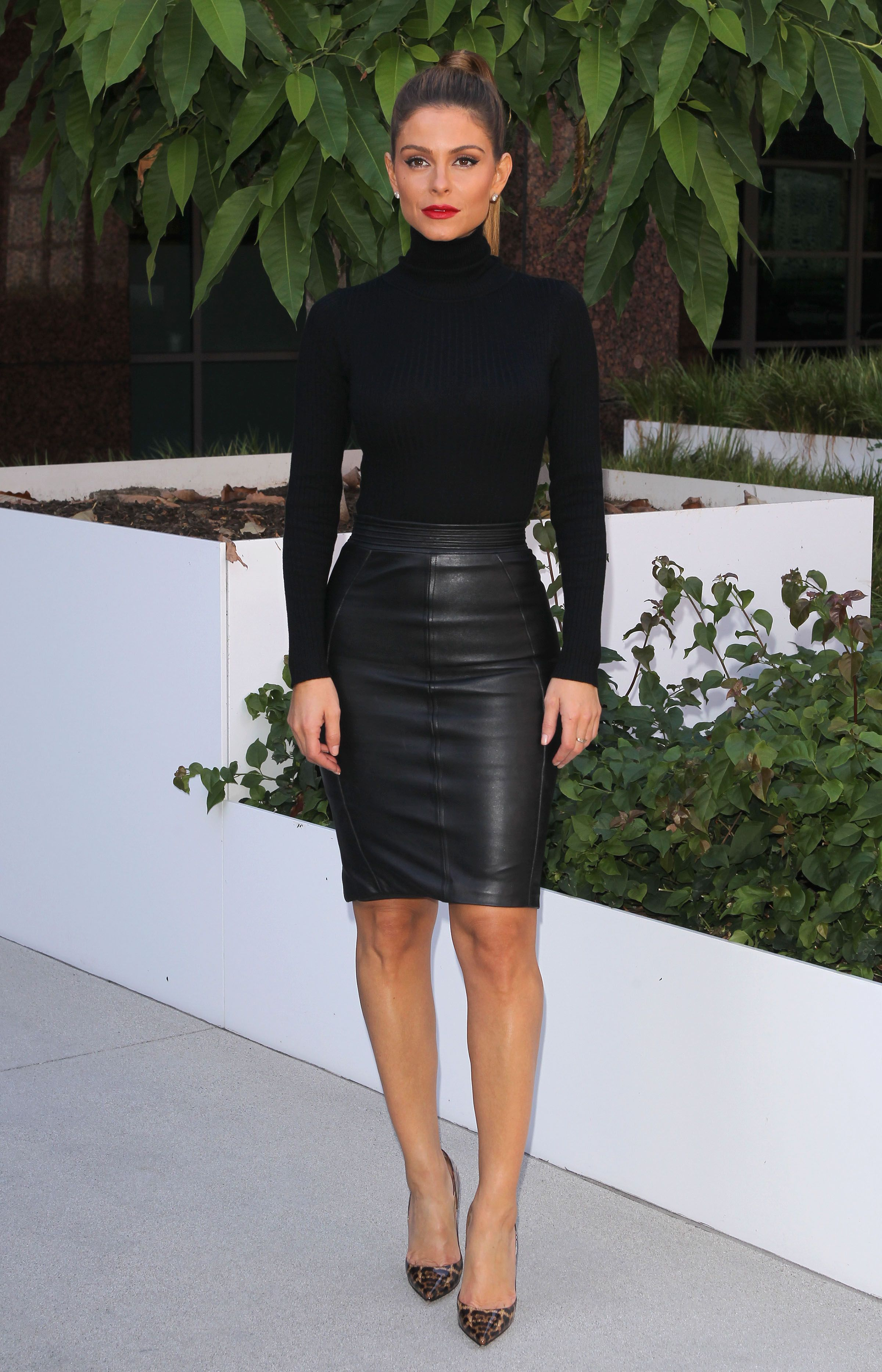 menounos looking in a tight leather skirt in l a