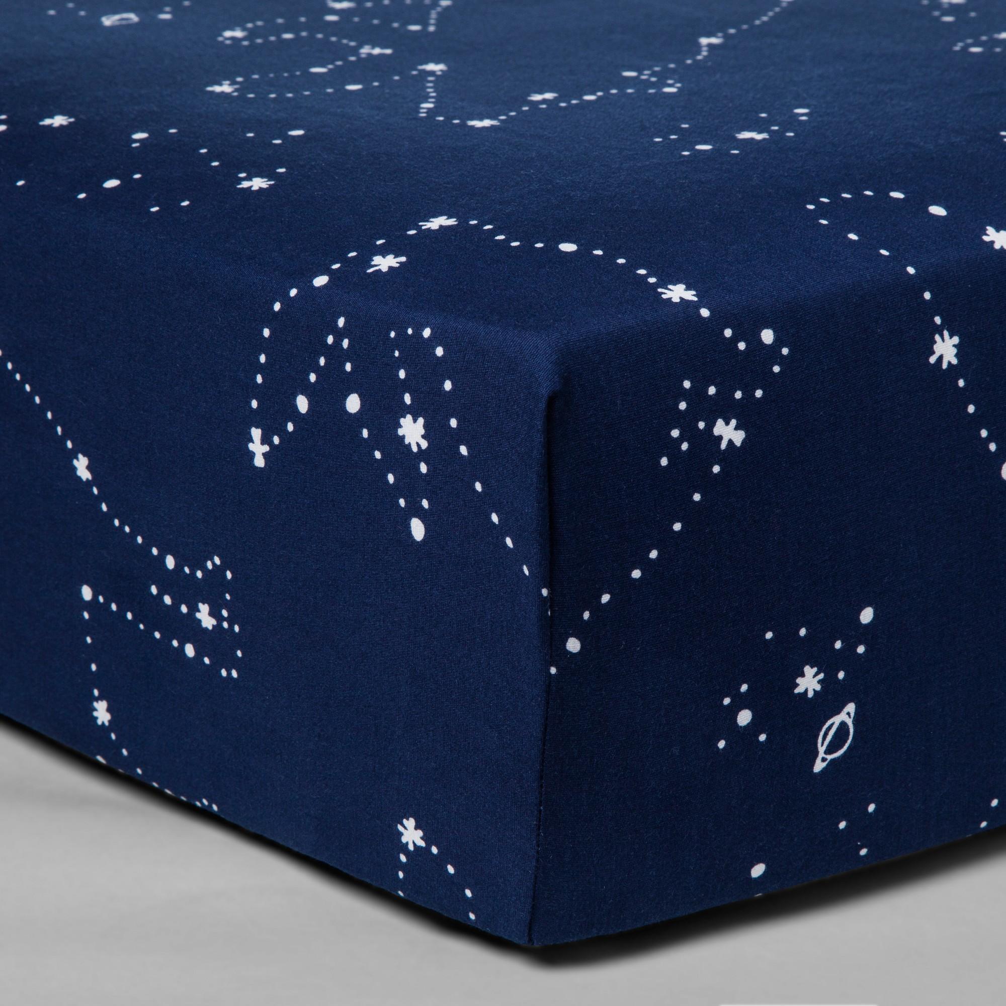 Fitted Crib Sheet Constellation Cloud Island Navy Crib