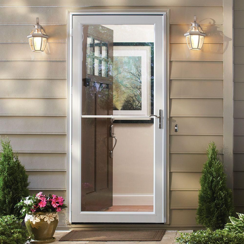 Andersen 32 In X 80 In 3000 Series White Right Hand Self Storing Easy Installaluminum Storm Door With Nicke Andersen Storm Doors Glass Storm Doors Storm Door