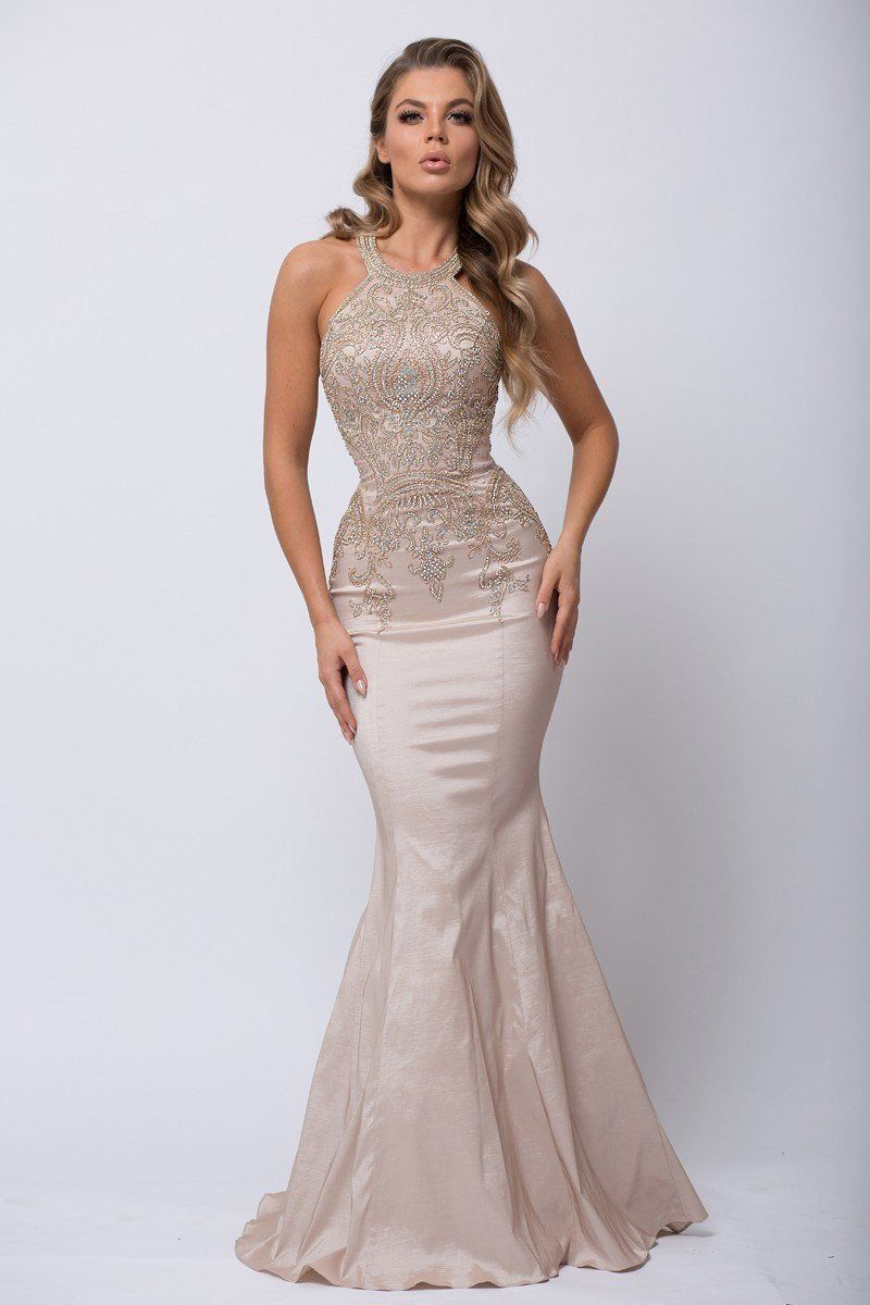 Look glamorous in this sexy prom dress . A mermaid prom dress with gold  beaded embroidery on bodice and back. This red carpet ready dress is a  perfect sexy ... a4d4a5635