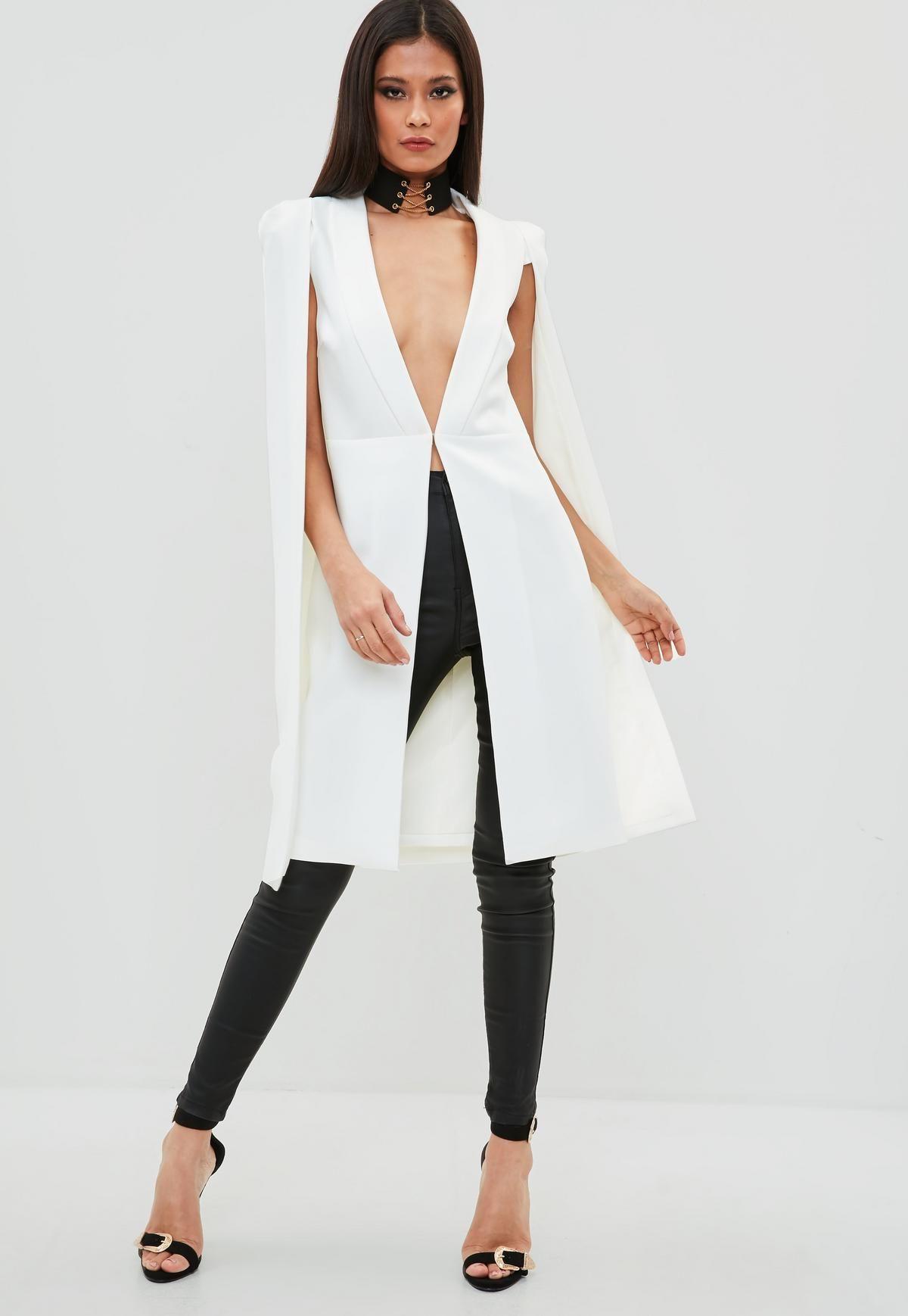 1cd139c3aff White Longline Cape Blazer | Missguided | Blazers | Coat, Coats for ...