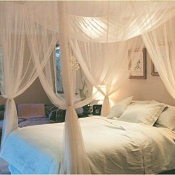 Super Buy 4 Corner Post Bed Canopy Mosquito Net Full Queen