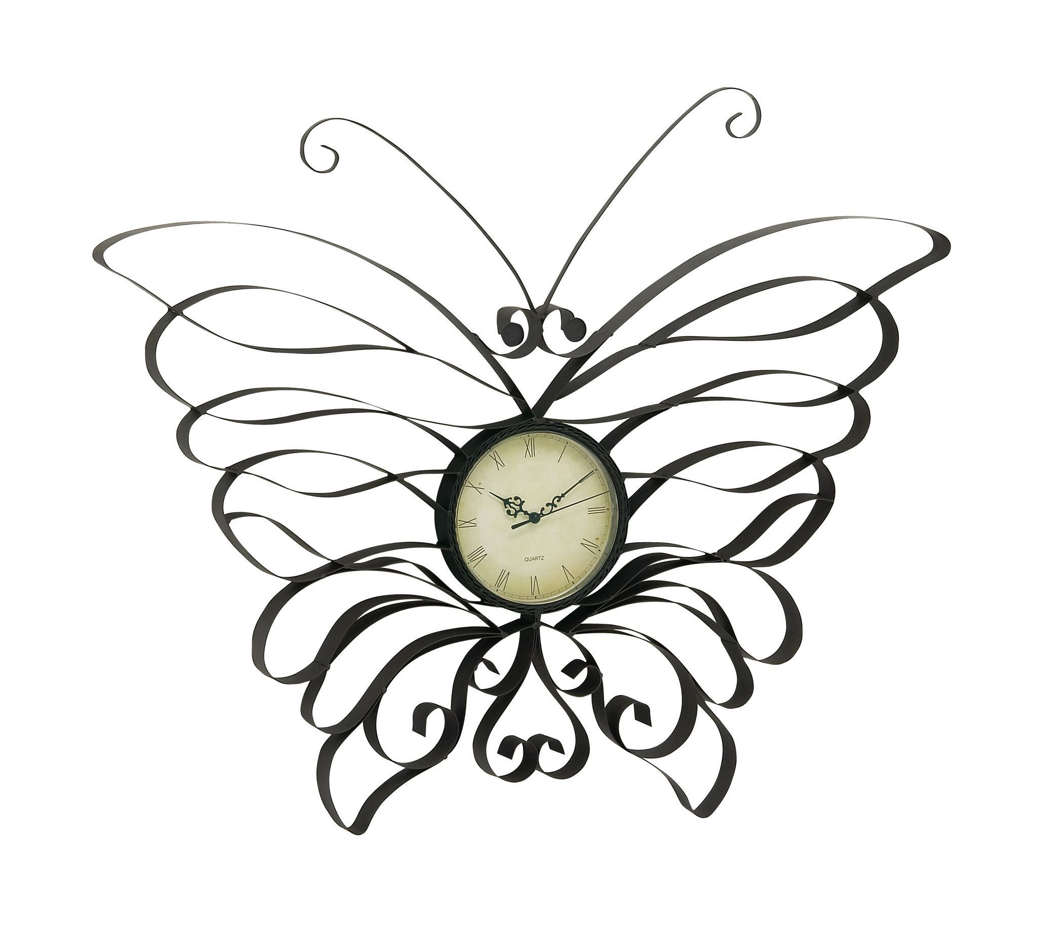 Gorgeous metal butterfly wall clock keep track on your time as you