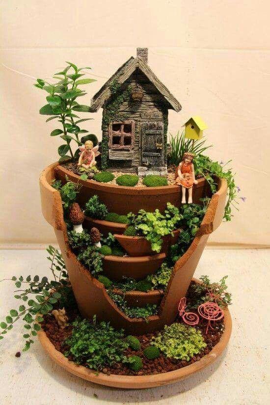 Creative Garden Broken Pot Ideas Fairy Gardens Pinterest