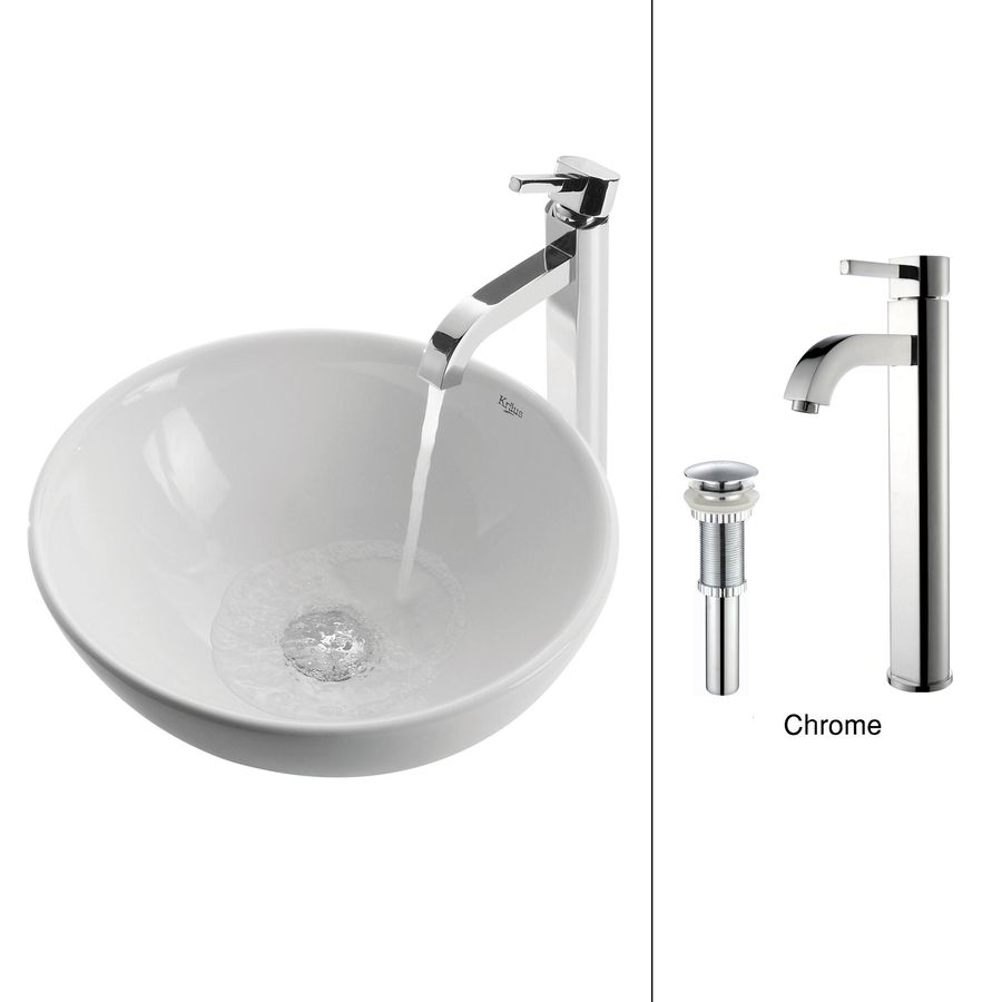 Kraus White Ceramic Chrome Vessel Round Bathroom Sink With Faucet