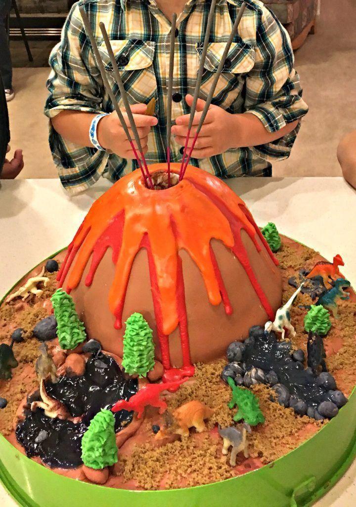 Exploding Volcano Dinosaur Birthday Cake Cake sparklers Jello and