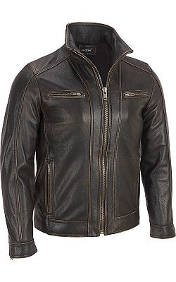 813ee0b6a9ff Black Rivet Leather Faded-Seam Cycle Jacket - Wilsons Leather ...