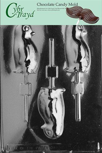 Cybrtrayd A011 Penguin Lolly Chocolate Candy Mold with Exclusive Cybrtrayd Copyrighted Chocolate Molding Instructions ** See this great product by click affiliate link Amazon.com