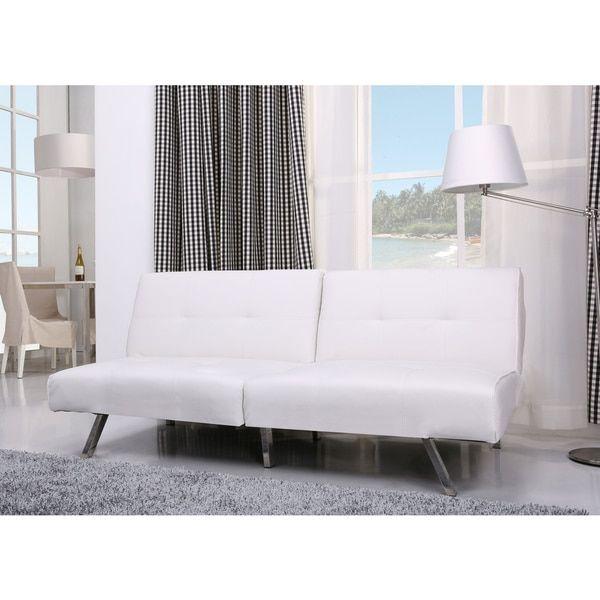 Victorville White Foldable Futon Sofa Bed