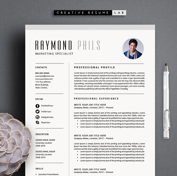 Raymond Resume Template   CV Template + Cover Letter \ References - references template for resume