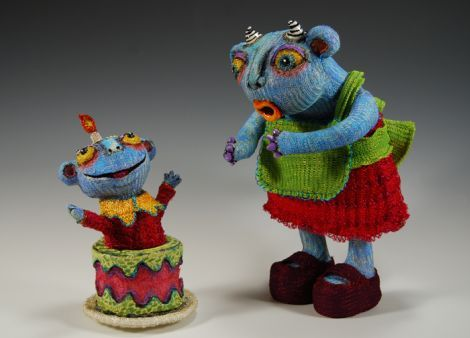 reina mia - knitted wire and ceramic sculpture. Loads more images at this link