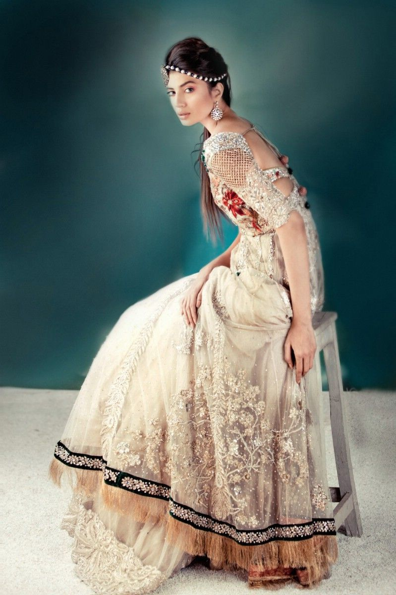 Pakistani bridal wear elan bridal cream white red gold maxi